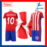 Healong Blue and Red Digital Stripe Printed Cheap Soccer Set