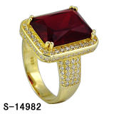 Hot-Selling 925 Sterling Silver Micro Setting CZ Men Ring with Big Stone in Ruby.
