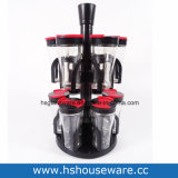 Black Rack and Red PP Lid Clear Rotary Glass Spice Bottle