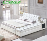 A561 King Size Fancy Design Leather Bed with Bench and Drawers at Side