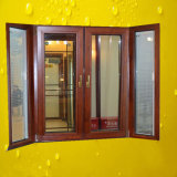 Double Glass Aluminum Wood Composite Window with Blinds