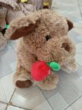 Plush Teddy Bear with Rose in Mouth