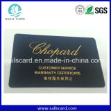 Credit Size Custom Plastic Watch Warranty Card