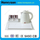 0.8L White Stainless Kettle with Melamine Service Tray