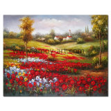 Handmade Red Flower Field Oil Painting on Canvas