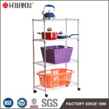 Household DIY 4 Tiers Light Duty Metal Storage Shelving Rack with Caster