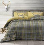 Stag Grey Tartan Check Reversible Duvet Quilt Cover Bedding Set
