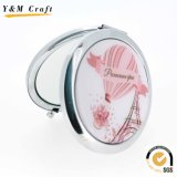 Souvenir Gift Cutomized with Epoxy Sticker Logo Metal Pocket/Makeup/Cosmetic Mirror