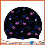 Black Flower Cheap Hat Silicone Swimming Cap