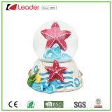 Customized Hand-Painted Resin Sear Star Snow Globe for Tourist Crafts and Home Gifts, Polyresin Water Globe with Starfish