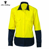 Wholesale Ladies Hi Vis Color Fluorescent Yellow Work Shirts