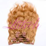 120g Clip in Full Head Remy Natural Wave Clip in Hair Extensions Human Hair