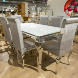 Modern French Style Dining Room White Mirrored Chrome Silver Louis Glass Dining Table Stainless Steel and Velvet Fabric Dining Chairs