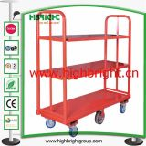 Warehouse Cargo Cart with Six Wheels and Two Shelves