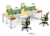 Wooden Office Partition 4 Seaters Divider Linear Desk Office Workstation