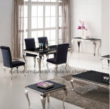 Wholesale Stainless Steel Chrome Black Glass Marble Dining Table