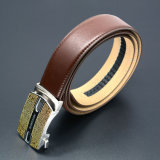 Luxury Ratchet Strap Men Brown Geunine Leather Belt with Automatic Stainless Steel Buckle