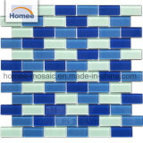 Glossy Sea Glass Non-Slip Blue Color Swimming Pool Mosaic Tiles