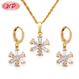 Women Fashion Jewelry 18K Rose Gold Plated Alloy Silver Pendant Chain Necklace with Crystal Pearl Earring Sets