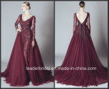 Long Sleeve Evening Gowns Burgundy Lace Tulle Prom Dresses Z810