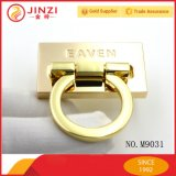 Luxury Metal Engraved Logo Turn Locks Pulling Metal Bag Lock