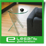 Round Glass Top Side Table with Bent Glass Base