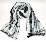 Black and White Tie Dye Scarf