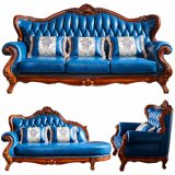 Living Room Furniture with Wood Leather Sofa Set (901)