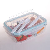 BPA Free High Resistant Microwave Safe 3compartment School Glass Lunch Box with Cutlery