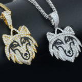Miss Jewelry Factory Director Supplier Cheap Fashion Animal Diamond Silver Wolf Head Pendant Hip Hop Jewelry