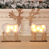 Wholesale Wooden Rustic Deer Miniature Home Decoration Accessories with Christmas Ornaments Home Decoration