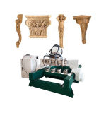 Cheap 4 Axis CNC Wood Router Machine for Furniture Leg, Stair Handrail Column 360 Degree Turning 3D Carving