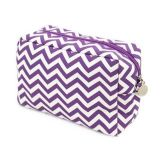 Chevron Make-up Cosmetic Tote Bag Carry Case Purple and White Design with Top Zipper