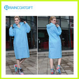 Eco Friendly Waterproof Easy Cleaning Clear Blue Fashion Raincoat Rvc-055