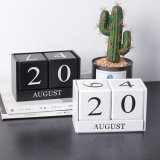 Handmade Wooden Desktop Blocks Perpetual Calendar for Home Office Decor