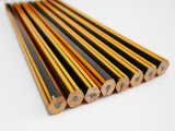 Striped Pencil Hex Pencil with Eraser Wooden Pencil