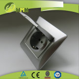 Silver Color 1 Gang Dust Cap Schuko Socket