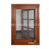 American Style Wood Aluminum Window for California USA Customer Grille Design Crank Window