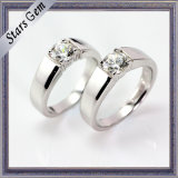 Vivid Brilliant Synthetic Diamond Simple Fashion Couple Jewelry Ring
