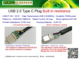 USB2.0-C Male Connector, Built-in 56K Ohm Resistance, No PCB, Current Rating: 5A Max. Durability: 10000 Cycles Min., Halogen Free, USB-If Vid: 5510