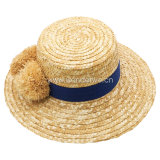Hot Sale Natural Raffia POM POM Wheat Straw Sun Beach Hat for Women