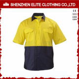 Short Sleeve Fluorescent Yellow Cotton Safety Shirt (ELTHVSI-17)