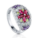 Flower Color Stone 925 Silver CZ Ring Jewellery