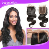 High Quality 100% Human Virgin Remy Hair Brazilian Indian 3.5*4 Body Wave Top Lace Closure