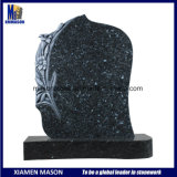 Blue Pearl Granite Monument with Antique Lily Flower Carvings