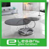 Rotatable Tempered Glass Coffee Table with Stainless Steel Base
