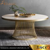 Luxury Modern Round Marble Coffee Table Dining Table with Brass Metal Base