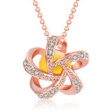 Popular Design Rose Gold Resin Necklace Flower Shape Diamond Jewelry