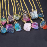 Colorful Raw Stone Gold Jewelry Irregular Colorful Necklace Gold Chain Nature Stone jewellery Natural Crystal Stone Pendant Necklace for Women