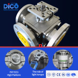 Dico Brand DIN ANSI JIS 10K 3 Way Flanged Full Port Ball Valve with ISO 5211 Mounting Pad